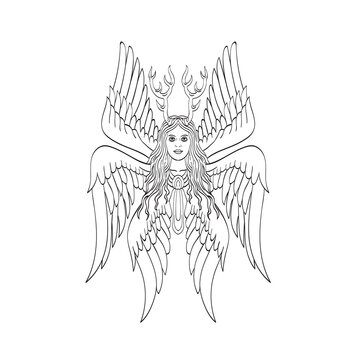 Seraph or Seraphim a Six-Winged Fiery Angel with Six Wings and Deer Antlers Tattoo Style Black and White