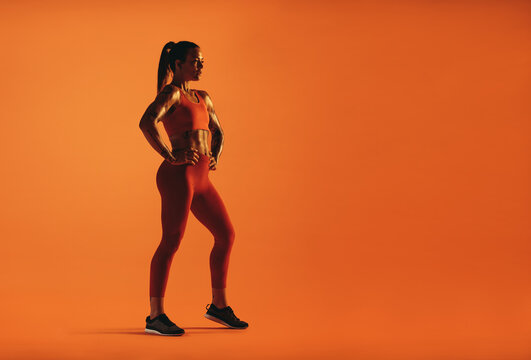 Fit woman working out on orange background