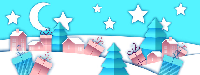 Photo sur Plexiglas Turquoise Christmas and New Year winter landscape with toy Santa village, gift boxes, pine trees. X-mas holiday paper cut background with houses, presents, moon, stars. Sale banner with winter vector landscape