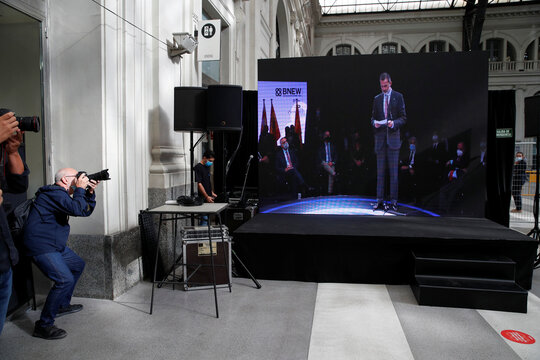 Spain's King Felipe is seen on the screen as he speaks during the award ceremony at the first edition of Barcelona New Economy Week