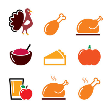 Thanksgiving Day food icons set - turkey, pumpkin pie, cranberry sauce, apple juice design in color