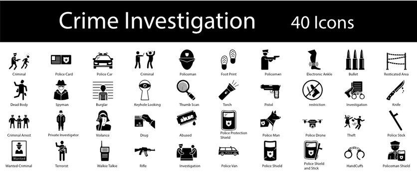 Crime Scene Vector Icons Set, Criminal investigation Symbol on White background, Law Enforcement and Police  Concept,