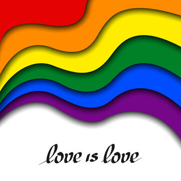 LGBT concept - rainbow pride flag lgbtq with text love is love. National Coming Out Day October 11. Wavy rainbow LGBTQ background in paper cut style. Multicolor transgender gay lesbians vector poster
