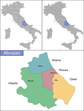 Illustration of Abruzzo is a region in Southern Italy