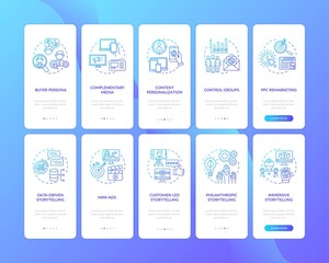 Photo sur Plexiglas Dinosaurs Multichannel marketing onboarding mobile app page screen with concepts set. Media and content coordination walkthrough 5 steps graphic instructions. UI vector template with RGB color illustrations
