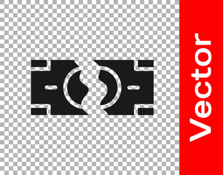 Black Tearing apart money banknote into two peaces icon isolated on transparent background. Vector.