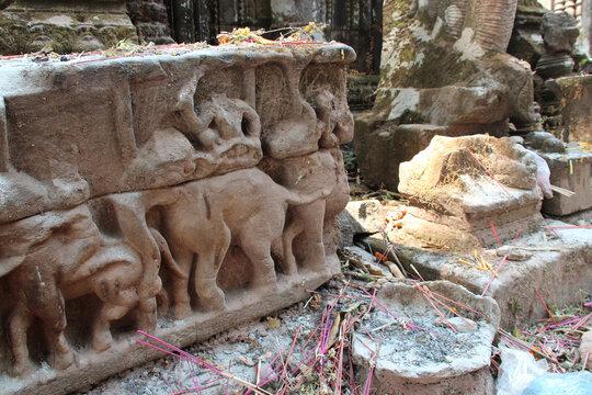 ruined buddhist temple (wat phou) in champassak in laos