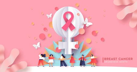 Photo sur Plexiglas Dinosaurs Breast cancer awareness month women team together