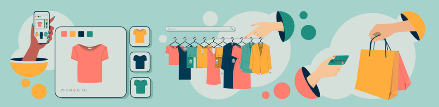 Online clothing store with easy search, choice of color and size. Concept of online shopping with phone or other gadgets.flat design style