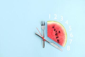 Fototapeta Intermittent fasting eight hours, keto concept obraz