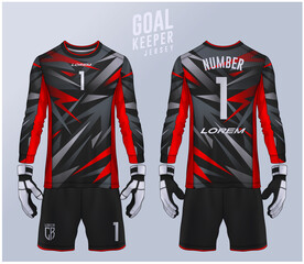 Goalkeeper jersey,t-shirt sport design template, Long sleeve soccer jersey mockup for football club. uniform front and back view.