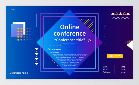 Online conference invitation banner. Business webinar invitation design. Announcement poster concept. Modern technology background with place for text. Vector illustration