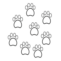 Faw print icons in flat style. Paws and black cat dogs. Animal footprint symbol with a white background for your website design, logo, application, UI Vector EPS 10