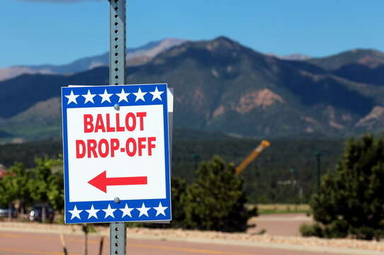 Ballot Box for Election - All Mail-In Voting - Pikes Peak in the Background