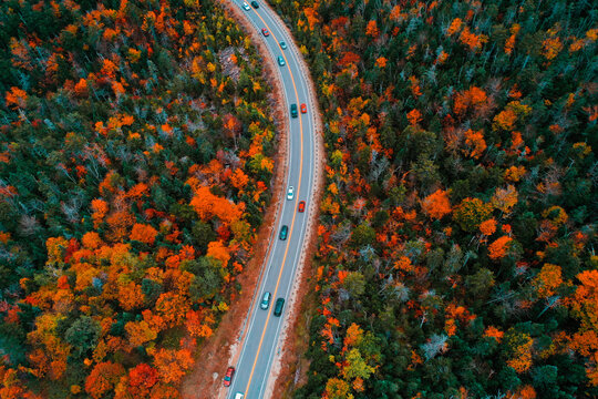 Aerial Drone Photography Of The Kancamagus Highway In Lincoln, NH (New Hampshire) During The Fall Foliage Season