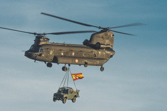Barcelona, Spain; August 5, 2018: Big double rotor helicopter of the spanish army. CH-47D Chinook