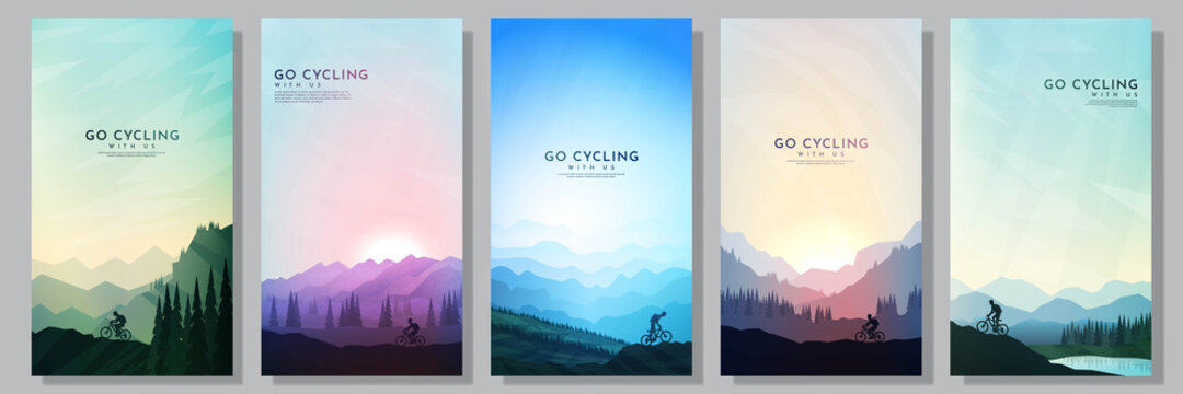Mountain bike. City cycling.  Travel concept of discovering, exploring and observing nature. Cycling. Adventure tourism. Minimalist graphic flyers. Polygonal flat design for coupon, voucher, gift card