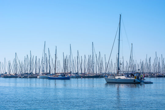 Yachts and  sailing boats on calm water, clear blue sky. Seascape.