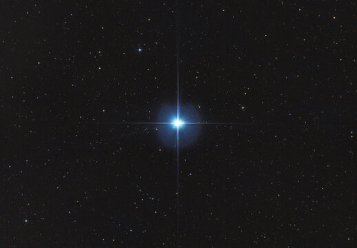Closeup of the famous star α Lyrae or also known as Vega in Lyra constellation, taken with my telescope. It is the one of brightest in the skies.
