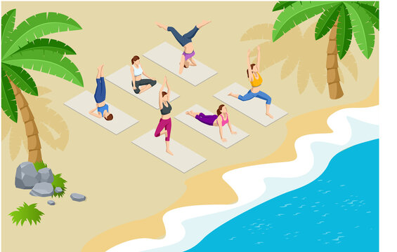 Isometric group of adults attending a yoga class outside by the sea on the beach. Healthy life concept.