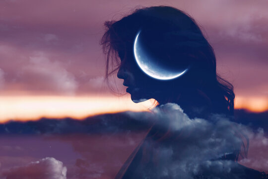 Woman profile silhouette portrait with moon in her head