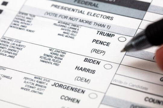 USA Presidential Candidates Joe Biden and Donald Trump on Voting Ballot