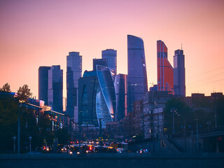 Moscow City International Business Centre and traffic jam in the evening