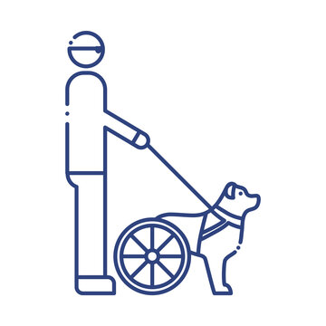 dog disabled with wheels leading the man blind line style icon