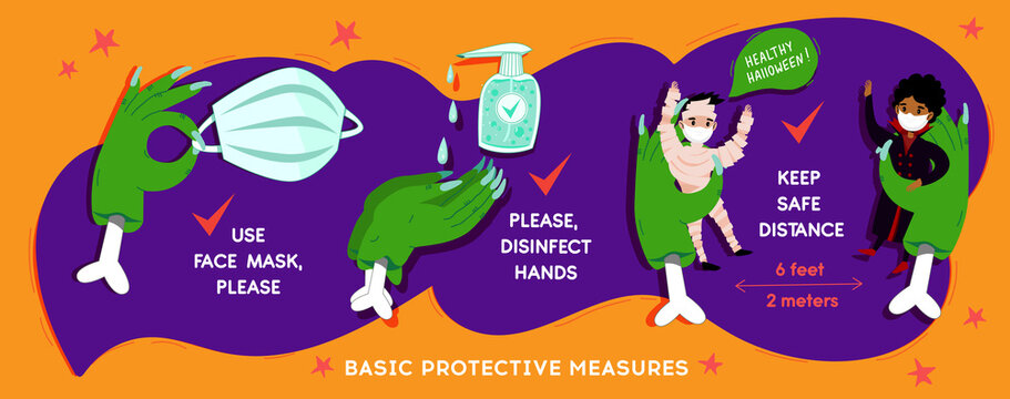 Halloween Coronavirus  social infographic  banner with COVID-19 protection information in cartoon funny festive style. Basic protective measures: Keep distance, disinfect hands, use mask. Vector