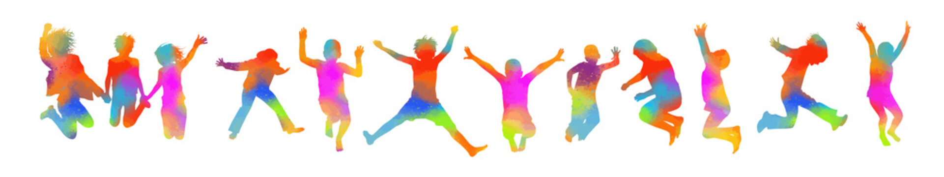 Colored jumping people. Happy children. Vector illustration