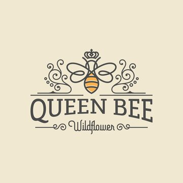Queen bee luxury logo. Bee honey graphic design template vector illustration