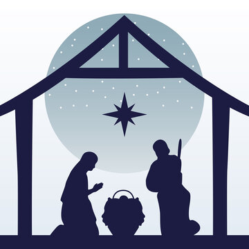 happy merry christmas manger scene with holy family in stable silhouette