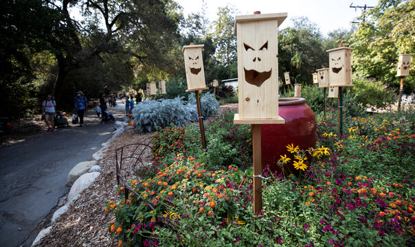"""Visitors walk by a wooden jack-o-lanterns installation during the """"Halloween at Descanso"""" event at Descanso Gardens in La Canada Flintridge"""