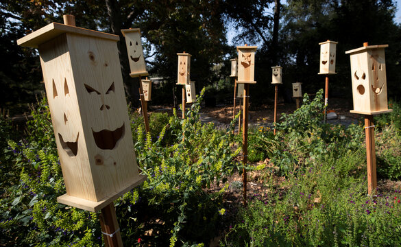 """A wooden jack-o-lanterns installation is pictured during the """"Halloween at Descanso"""" event at Descanso Gardens in La Canada Flintridge"""