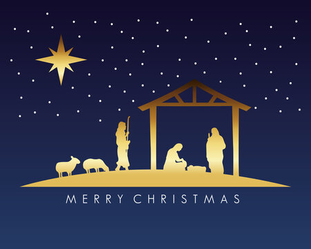 happy merry christmas manger scene with golden holy family in stable and animals