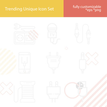 Simple set of fibre optic related lineal icons.