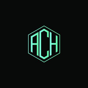 ACH letter icon design on black background.  Creative letter ACH/A C H logo design. ACH initials Logo design