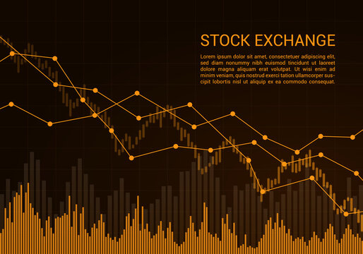 Orange stock exchange market or financial candlestick chart with rising and falling trend and text, vector