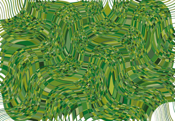 mosaic background, tessellation pattern. green wavy, waving and undulate,billowy illustration. abstract vector art. ripple, corrugated, zig-zag and criss-cross weird,strange structure element