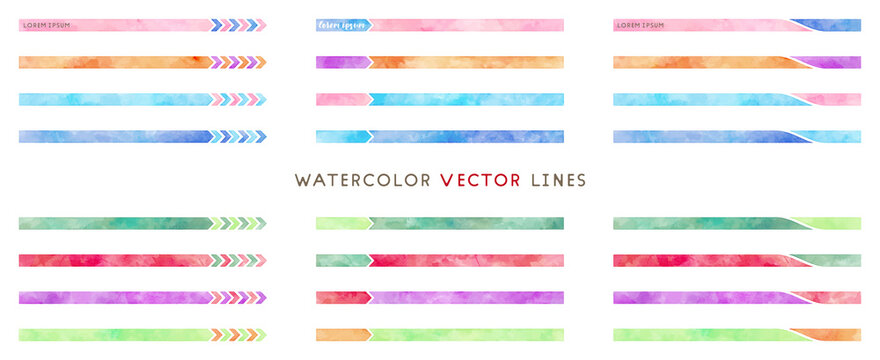 watercolor colorful vector line frame set