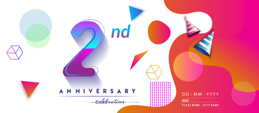 2nd years anniversary logo, vector design birthday celebration with colorful geometric background and circles shape.