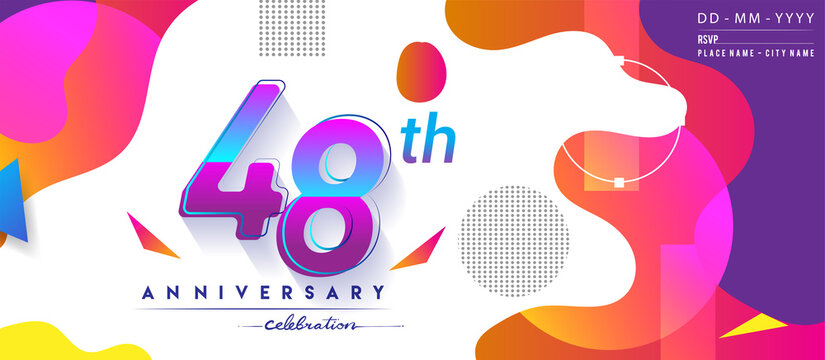 48th years anniversary logo, vector design birthday celebration with colorful geometric background and circles shape.