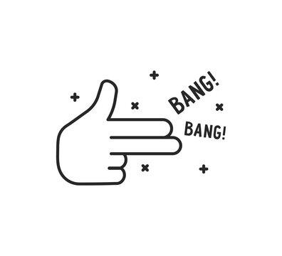 black simple finger gun thin line icon