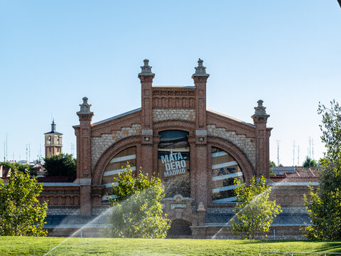 surroundings of the cultural center called slaughterhouse in the public park of madrid called madrid river.