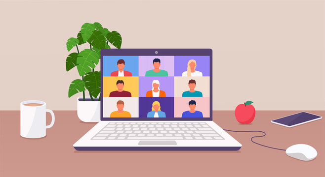 Working from home, people talk or learning online by teleconference on laptop working from anywhere parts of the world from home. Conference video call.
