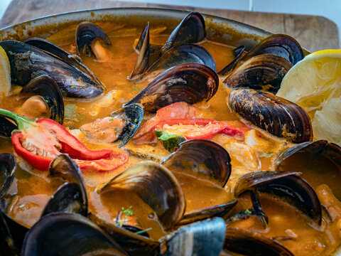 Delicious Mediterranean seafood soup with a variety of mixed
