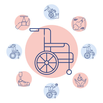 wheelchair with bundle of disabilities set icons