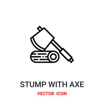 stump with axe icon vector symbol. stump with axe symbol icon vector for your design. Modern outline icon for your website and mobile app design. stump with axe icon.