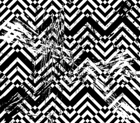 abstract geometric pattern background, with squares, paint strokes and splashes, grungy, black and white