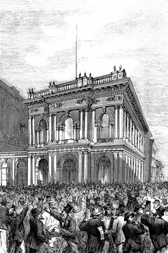 San Francisco, the surroundings of the Bank of California, the day that its suspended payments. August 26th, 1875. Commiting suicide its director-president. Antique illustration. 1875.